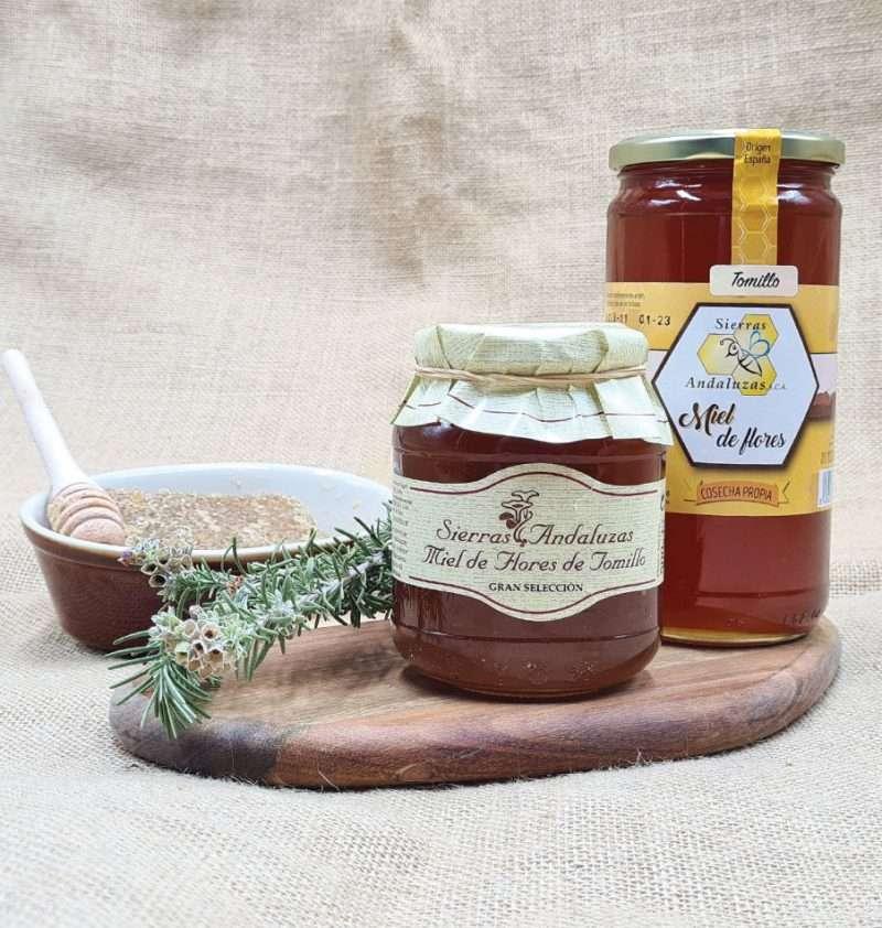 Miel Cruda de Tomillo hecha en España. Miel cruda de tomillo de Sierras Andaluzas. Compra Online en nuestra tienda.
